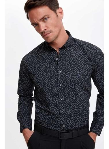 DeFacto Modern Fit Desenli Uzun Kollu Gömlek Siyah